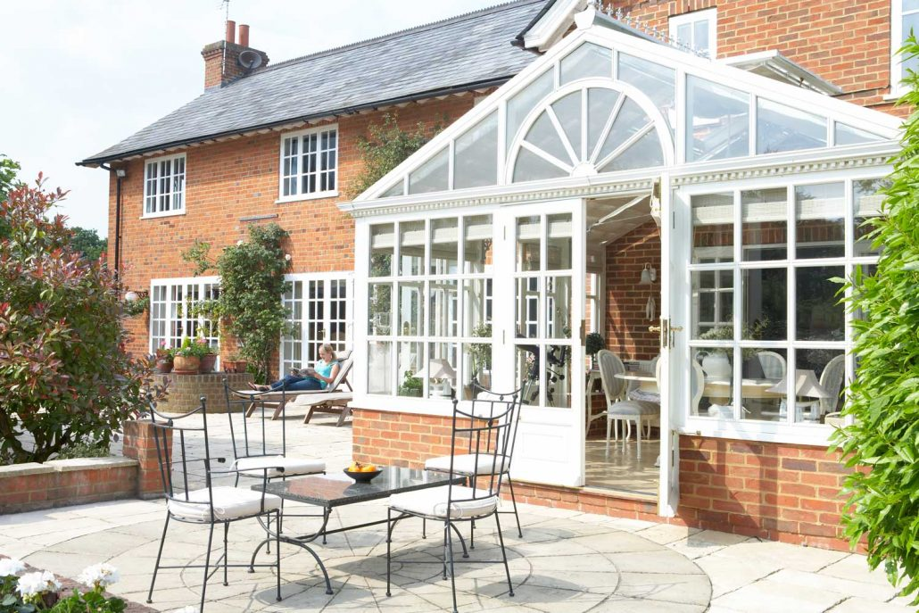 Conservatory and patio on a spring morning.
