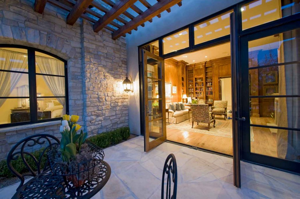 Beautiful French Doors opened in the evening